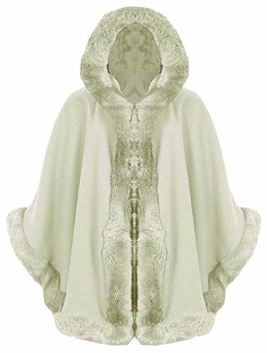 FK styles da donna, maniche a ¾ Celebrity Inspired pelliccia mantello con cappuccio poncho cardigan Cream
