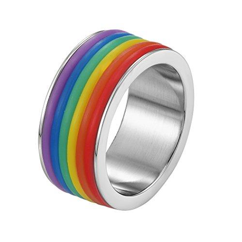 and Ring, Homosexuell Regenbogen LGBT Stolz Ring 9mm Breit Ehering Partnerring für Frauen & Männer Ringgrößen 64(20.4) ()