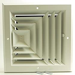 6 x 6 3-WAY SUPPLY GRILLE - DUCT COVER & DIFUSER - LOW NOISE - For Ceiling - With Opposing Damper Blades