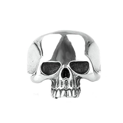 Epinki Jewelry Stainless Steel Vintage Punk Rock Men Silver Skull Ring 2CM Size N 1/2
