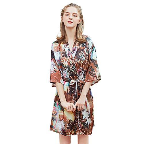 Committede Damen Morgenmantel Kimono Bademantel Kurze Satin Nachthemd Nachtwäsche Schlafanzüge Mit Blumen Damen Satin Morgenmantel Robe mit Kimono Morgenmantel Robe mit Spitzen - Knit Womens Pyjamas