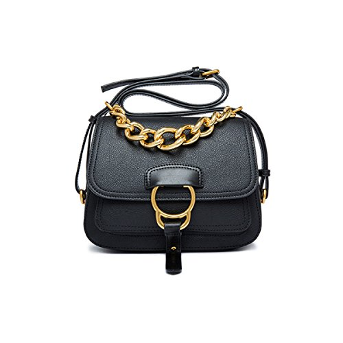 Donne Cuoio Genuino Retro Anti-Theft Singola Spalla Crossbody Bag Sella. Black