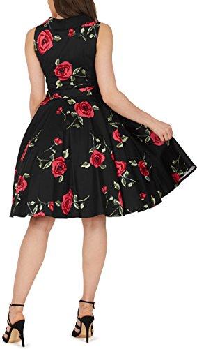 Black Butterfly 'Luna' Retro Infinity Kleid im 50er-Jahre-Stil (Große Rote Rosen, EUR 36 – XS) - 3