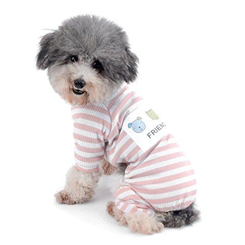 Ranphy Kleiner Hund Streifen Schlafanzüge Bequemer Baumwolle Haustier Kleidung Puppy Jumpsuit Pyjama Katze Apparel Shirt Mädchen Jungen Für Sommer Herbst, XXL, Rose (Passende Shirts Für Mädchen)