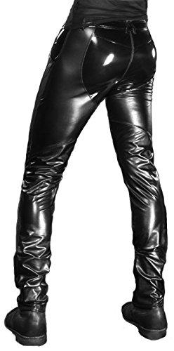Patrice Catanzaro Dylan Wetlook-Lack-Hose mit Reißverschluss,schwarz (44, Schwarz)