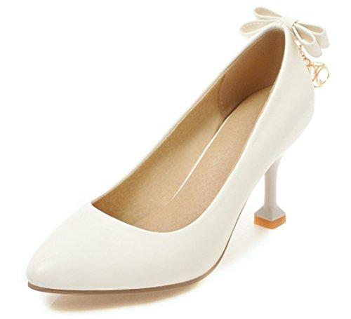 SHOWHOW Damen Spitz Zehe Low Top High Heels Pumps mit Schleife Weiß 33 EU (Passende Kostüme Für Freund Und Freundin)