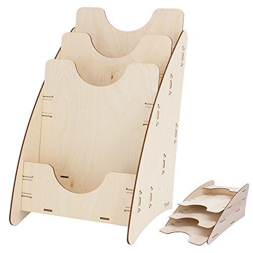 myORGA no.6 - Prospektständer Holz DIN A4 3-fach - Prospektaufsteller - Prospektbox - Briefablage -...