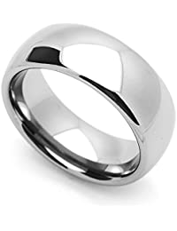 Little Treasures 8MM Comfort Fit Tungsten Carbide Wedding Band Classic Domed Ring Cobalt Free
