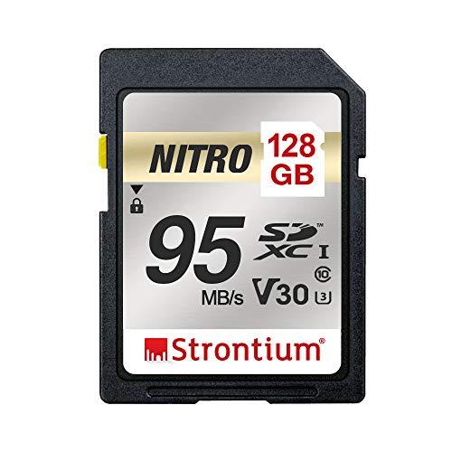 Strontium Nitro 128 GB SD SDXC UHS I U3 V30 Class 10 Flash Memory Card  SRN128GSDU3QR