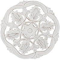 DonRegaloWeb - Retablo de madera calado - Mandala en redondo para colgar de la pared en color blanco decapé estilo vintage