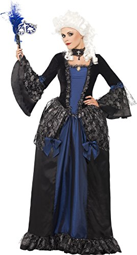 Smiffys, Damen Barocke Schönheit Maskerade Kostüm, Kleid mit Peplums, Größe: M, (Dem Blauen Teufel Mit Kleid Kostüm)