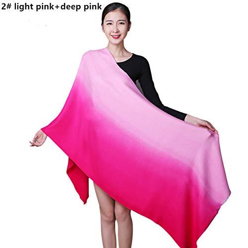 HAZVPO Farbverlauf Doppel Farbe Winter Warm Cashmere Schal Poncho Schal Multifunktionsschals Mit-2 deep Light pink