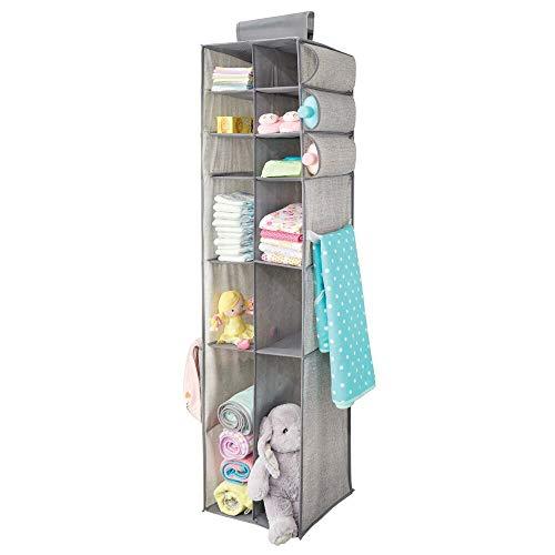 mDesign estanteria Colgante para organizar la Ropa de Bebe - Organizador de Ropa Color Gris para...