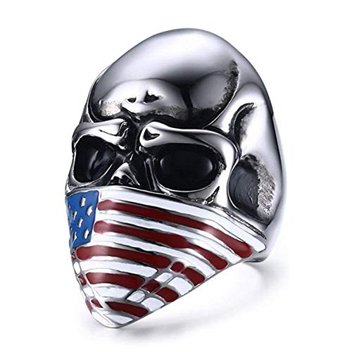 XBMEN Herren Edelstahl Ring Band amerikanische Flagge Masken Schädel Radfahrer Punk Schmuck