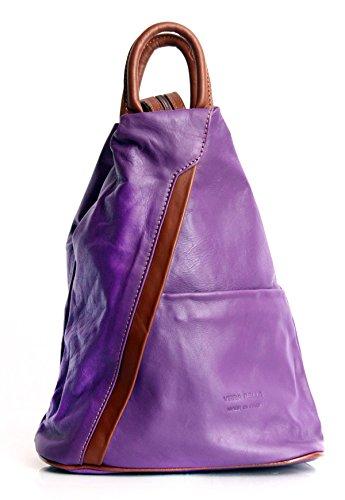 Weiches Italienisches Leder Cabrio Zip Rucksack und Schultertasche Purple with Brown