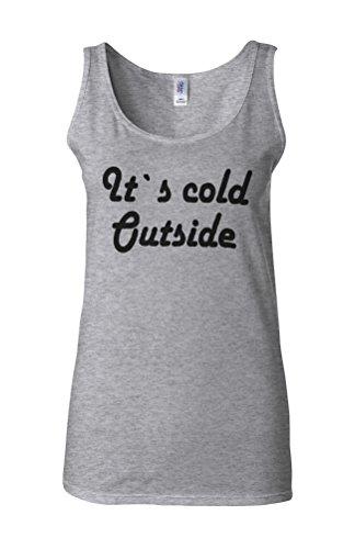 It`s Cold Outside Winter Novelty White Femme Women Tricot de Corps Tank Top Vest Gris Sportif