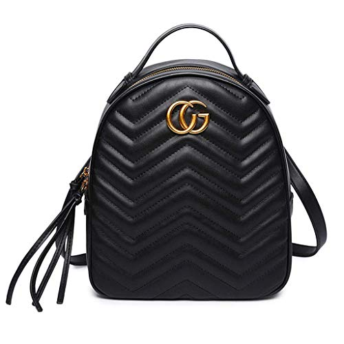 Yuany Rucksack Brieftasche Mini Mode lässig Sport Ihre Handtasche Damen Leder wasserdicht tragbar große Kapazität Rucksack - schwarz - Schwarz Poliert Leder Handtasche