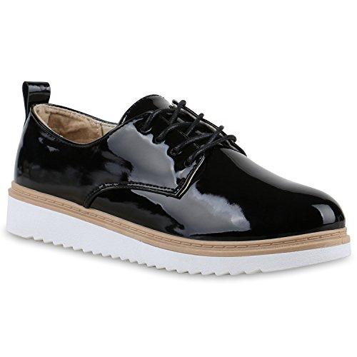 Stiefelparadies Damen Schuhe Halbschuhe Dandy Style Schnürer Lack Metallic Profilsohle 130639 Schwarz Bernice 39 Flandell