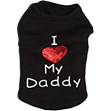 YiJee Moda Lindo Chaleco Ropa para Perros Impreso Perrito Camiseta de Verano Negro Daddy M