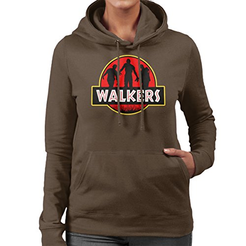 Jurassic Walkers Walking Dead Park Women's Hooded Sweatshirt Chocolate
