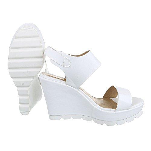 Sandali bianchi con tacco a zeppa per donna DDtSlQqUQi