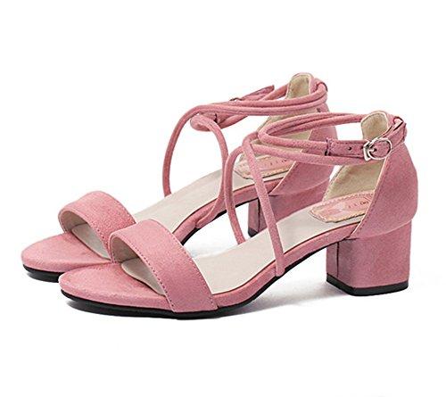Niedrige Absatz mit Schnallen Syntetische Sandalen Bequem und Elegant Rosa
