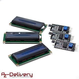 AZDelivery ⭐⭐⭐⭐⭐ 3 x HD44780 1602 LCD Modul Display Bundle mit I2C Schnittstelle 2x16 Zeichen mit Gratis eBook! (mit Blauem Hintergrund)