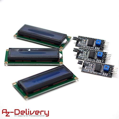 AZDelivery ⭐⭐⭐⭐⭐ 3 x HD44780 1602 LCD Modul Display Bundle mit I2C Schnittstelle 2x16 Zeichen mit Gratis eBook! (mit Blauem Hintergrund) Lcd-display-modul