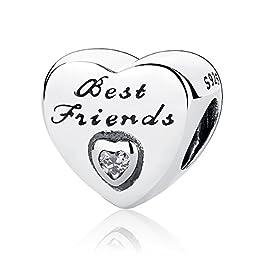 Charm dell'Amicizia con zirconia cubica, a forma di cuore, in argento Sterling 925, compatibile con bracciali e altri di…