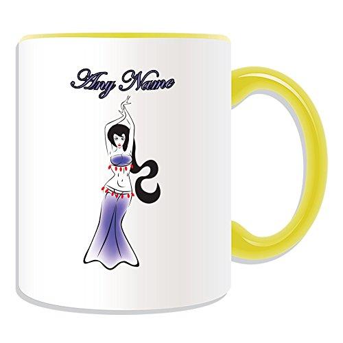 Personalisiertes Geschenk-Belly Dancer Tasse (Dance Design Thema, Farbe Optionen)-alle Nachricht/Name auf Ihre einzigartige-Hot Sexy, keramik, gelb