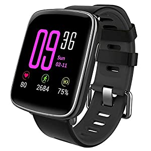 Smart Watch,YAMAY Bluetooth Smartwatch Waterproof IP68 Fitness Tracker Watch with Heart Rate Monitor Pedometer Sleep Monitor Stopwatch SMS Call Notification Remote Camera Music for iOS Android Phone