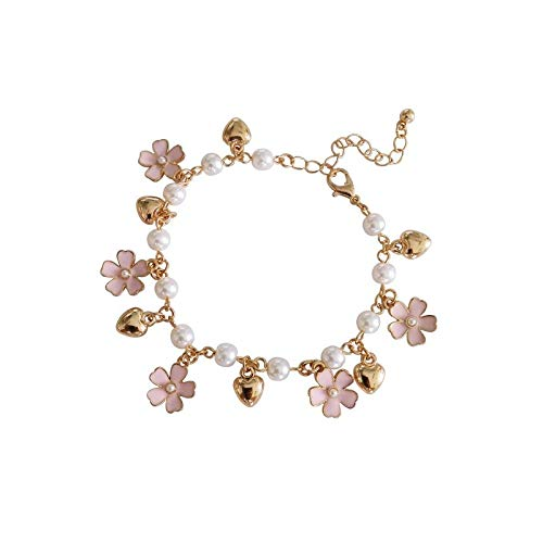 ksufnjekls Japanische Süße Kirschblüte Saloon Mädchen Blume Temperament Ball Schöne Liebe Anhänger Koreanische Version Kirschblüte Armband Zubehör Damen Geschenk