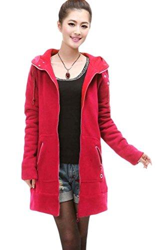 Voguees Damen Winter Mit Kapuze Vliese Mantel Sweatshirt Mit Taschen Rot
