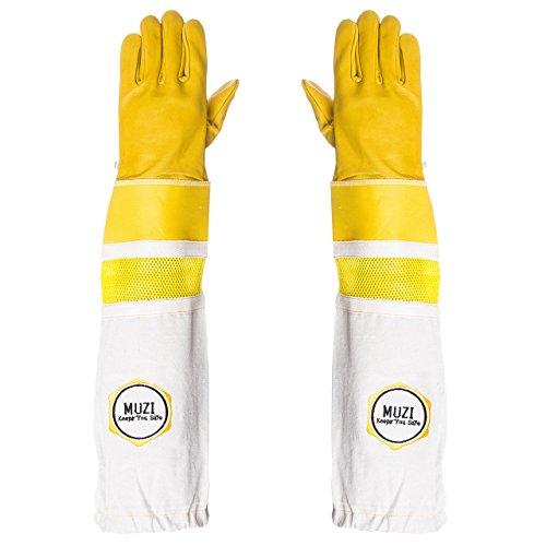 guanti apicoltura Guanti di apicoltura in pelle di mucca tela e guanti gommati giacche elasticizzate (Grande)