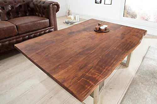 Invicta Interior Massiver Baumstamm Couchtisch Mammut braun 120cm Akazie Massivholz verchromtes Kufengestell Holztisch -