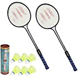 Sunley Polo Set of 2 Piece Badminton Racket with 6 Piece Nylon Shuttle