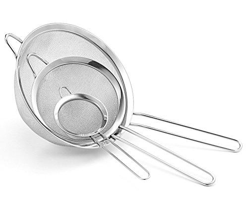 JZK® 3 x colador para tamizar harina té azúcar jugo aceite, tamaño: pequeños medianos grandes, acero inoxidable