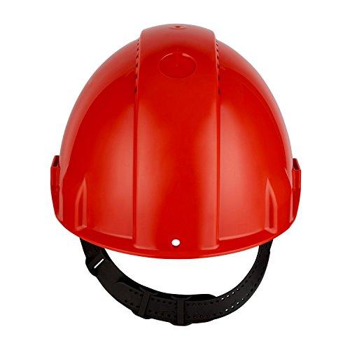 3MTM Elmetto di protezione G3000, con Uvicator, senza cricchetto e fascia antisudore in plastica, ventilato, rosso, G3000CUV-RD