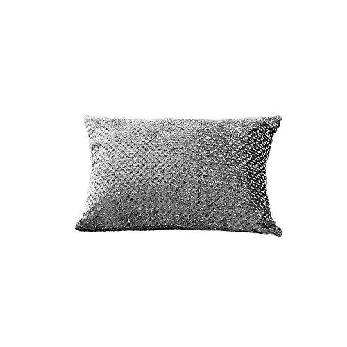Sienna Glitzer-Samtkissen, gefülltes Boudoir-Kissen, Luxus, Glanz–Silberfarben-Grau, 30x 50cm (Dekorative Boudoir Kissen)