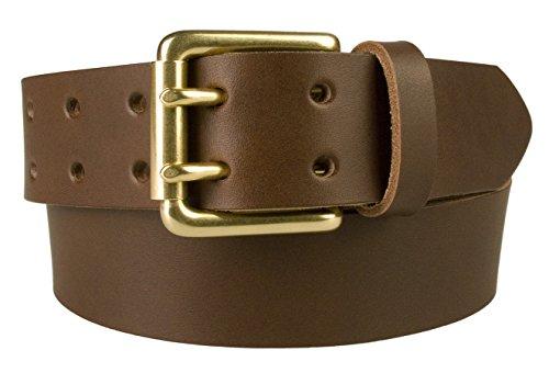 Belt Designs 0018-38-BRS-BRW-XS - Hochwertiger Herren Ledergürtel - Doppeldorn - 4cm breit - Hergestellt In Wales - massive messingschnalle - 66-76cm Braun