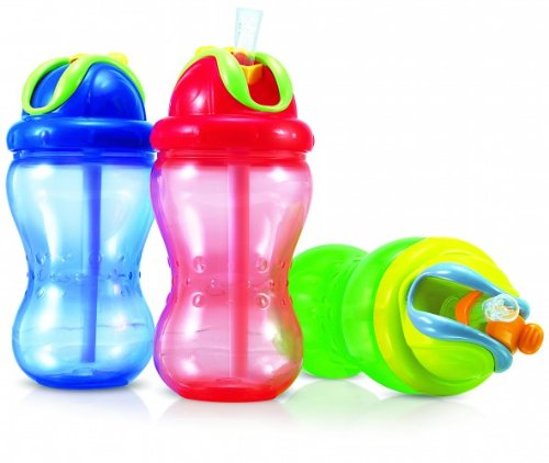 Nuby Soft Flip-It auslaufsichere Trinkhalmflasche, 355 ml + rosa