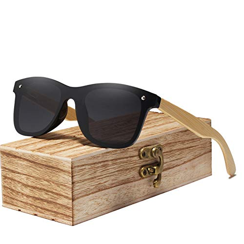 YLZERO Real Bamboo Sonnenbrille Holz polarisierte Holz Gläser UV400 SonnenbrilleHolz Sun -Gläser mit Holzkoffer