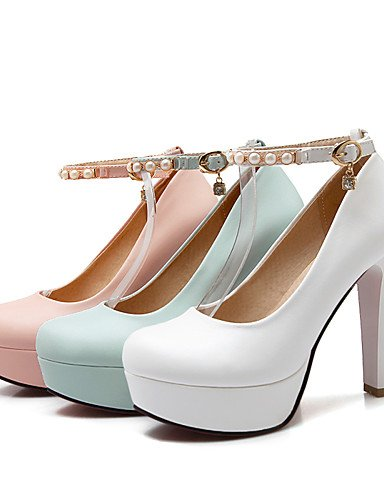 WSS 2016 Chaussures Femme-Bureau & Travail / Décontracté-Bleu / Rose / Blanc-Gros Talon-Talons / Bout Arrondi-Talons-Polyuréthane pink-us6.5-7 / eu37 / uk4.5-5 / cn37