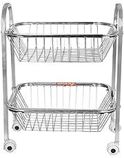 HPR Statinless Steel Shelf Fruits and Vegetables Trolly for Kitchen Use, 1.6 Kg-2 Shelf / 2.4 Kg- 3 Shelf / 3.3 Kg-4 Shelf (2 Shelf)