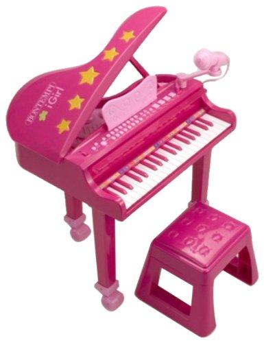 Bontempi gp 3971 - pianoforte a coda con microfono, 37 tasti, gambe e sgabello