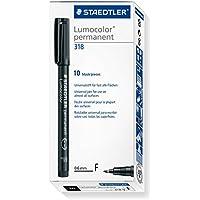 Staedtler Lumocolor Permanent Pen 318-9 Fine 0.6mm Line - Black (Box of 10)