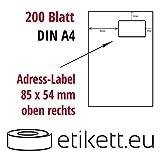 200 Integriertes Etikett rechts oben DIN A4 weiß 54 mm x 85 mm (Laser,Inkjet,Kopierer) 200 Blatt
