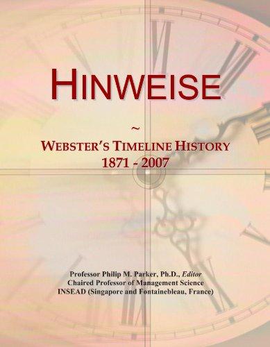 Hinweise: Webster\'s Timeline History, 1871-2007