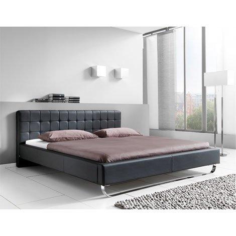 sette notti Polsterbett Bett 160x200 Schwarz, Kunstleder-Bett mit Liegefläche 160x200 cm, Pasadena Art Nr. 667-10-40000