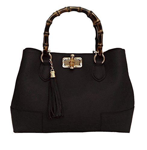 Borsa DEEP ROSE in Vera Pelle Donna Made in Italy a spalla mano shopper pelle con tracolla regolabile modello GINEVRA BAMBU nero Finishline En Línea HPFfjYO
